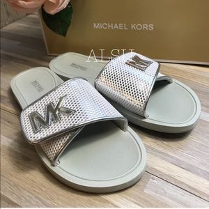Michael Kors Shoes - Michael Kors Palmer Slide Net Mesh Silver White W